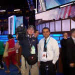 Inside the DNC shooting for an international news outlet.  Secret Service looming behind.