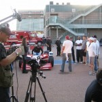 "KDM Pro's Kevin Mauch shooting for the ""Speedway Driver Search"" show."